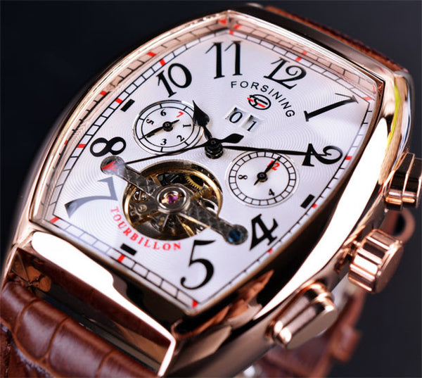 Forsining Date Month Display | Men Rose Gold Tourbillon Watch