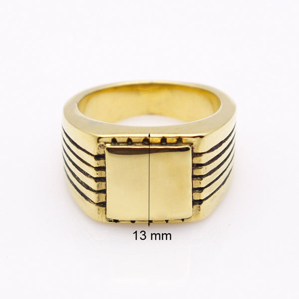 Men's High Polished Signet Solid Stainless Steel Ring 316L Stainless Steel with Gold Color