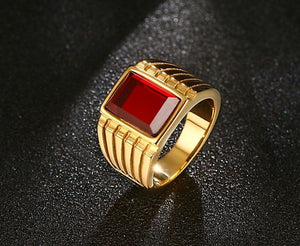 Men's Square Red Stone Rings Gold-Plated Steel Jewelry Bague Anillos - FanFreakz