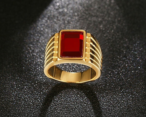 Men's Square Red Stone Rings Gold-Plated Steel Jewelry Bague Anillos