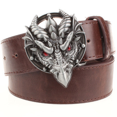 Red Eye Dragon Head Buckle Men Belt - FanFreakz