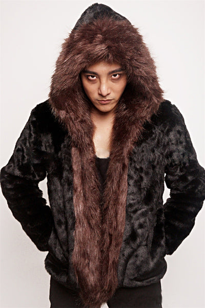 Men Faux Rabbit Fur Jacket with Hood