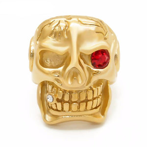 Gold Skull Cigar Blue/Red/White Stainless Steel Biker Men Rings - FanFreakz
