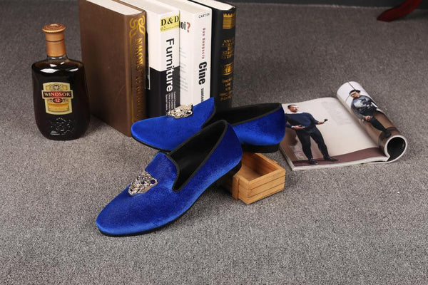 Animal Buckle Men Classic Wedding Velvet Loafers Shoes