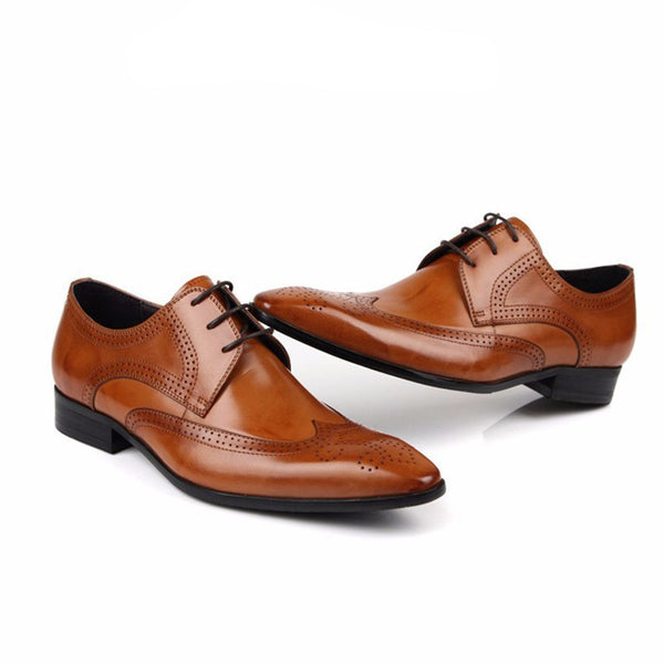 Pointed Toe Brogue Men Derby Shoes with Deep Wingtip