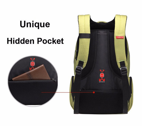 Waterproof Nylon Backpack, Female Unisex Men's Backpacks with Dual Layer Zipper