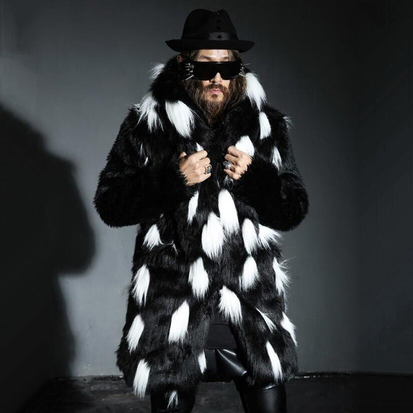 Black and White Fur Spot Fashionable Men Jacket