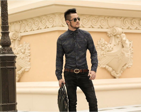 Casual Camouflage Men Slim Fit Shirt