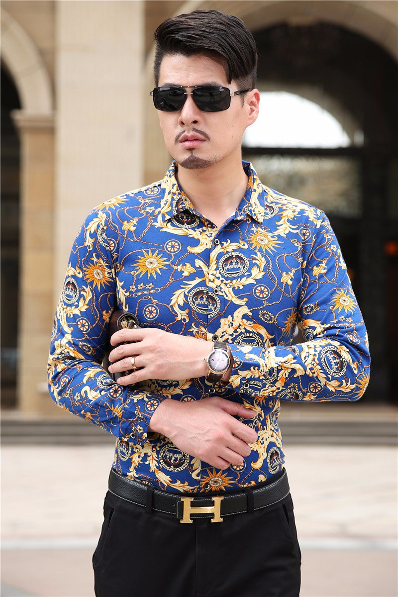 Long Sleeve Mens Printed Dress Shirts Luxury Style Fanfreakz