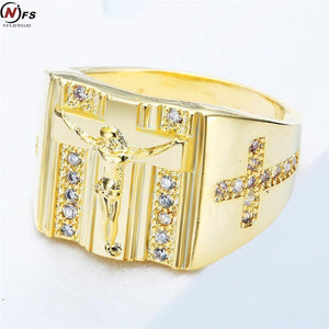 Holy Cross Men Ring Prayer Christian Jesus With White Cub Zirconia - FanFreakz