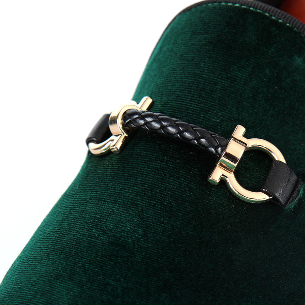 Woven Strap Buckle Detail Men Velvet Slip On Loafer Shoes