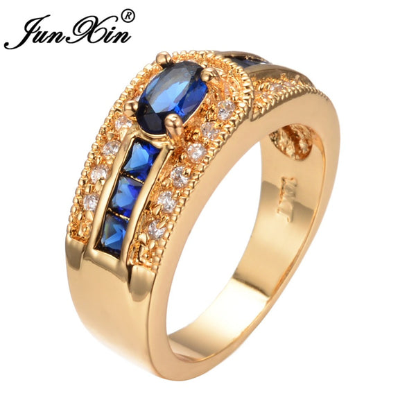 Unique Design Men Blue Crystal Ring For Couple