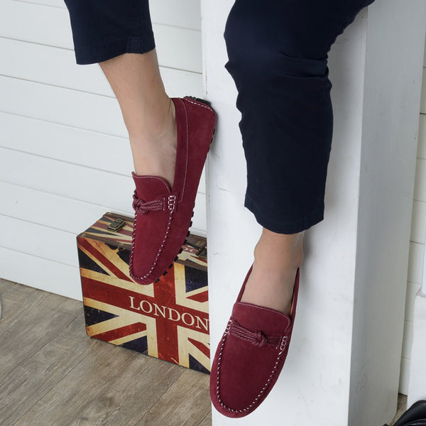 Peas PU Suede Men Loafers Shoes