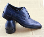 Men Blue Oxford Shoes on Woven Leather Patched Style - FanFreakz