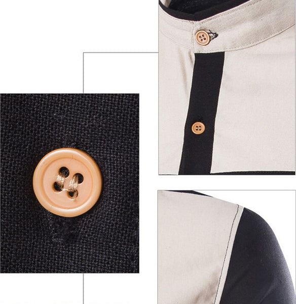 Geometric Slim Casual Stand Collar Men Shirt