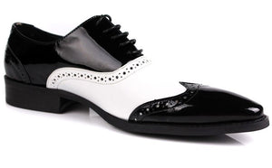 Pointed Toe Black and White Classic Style Men Oxford Shoes - FanFreakz