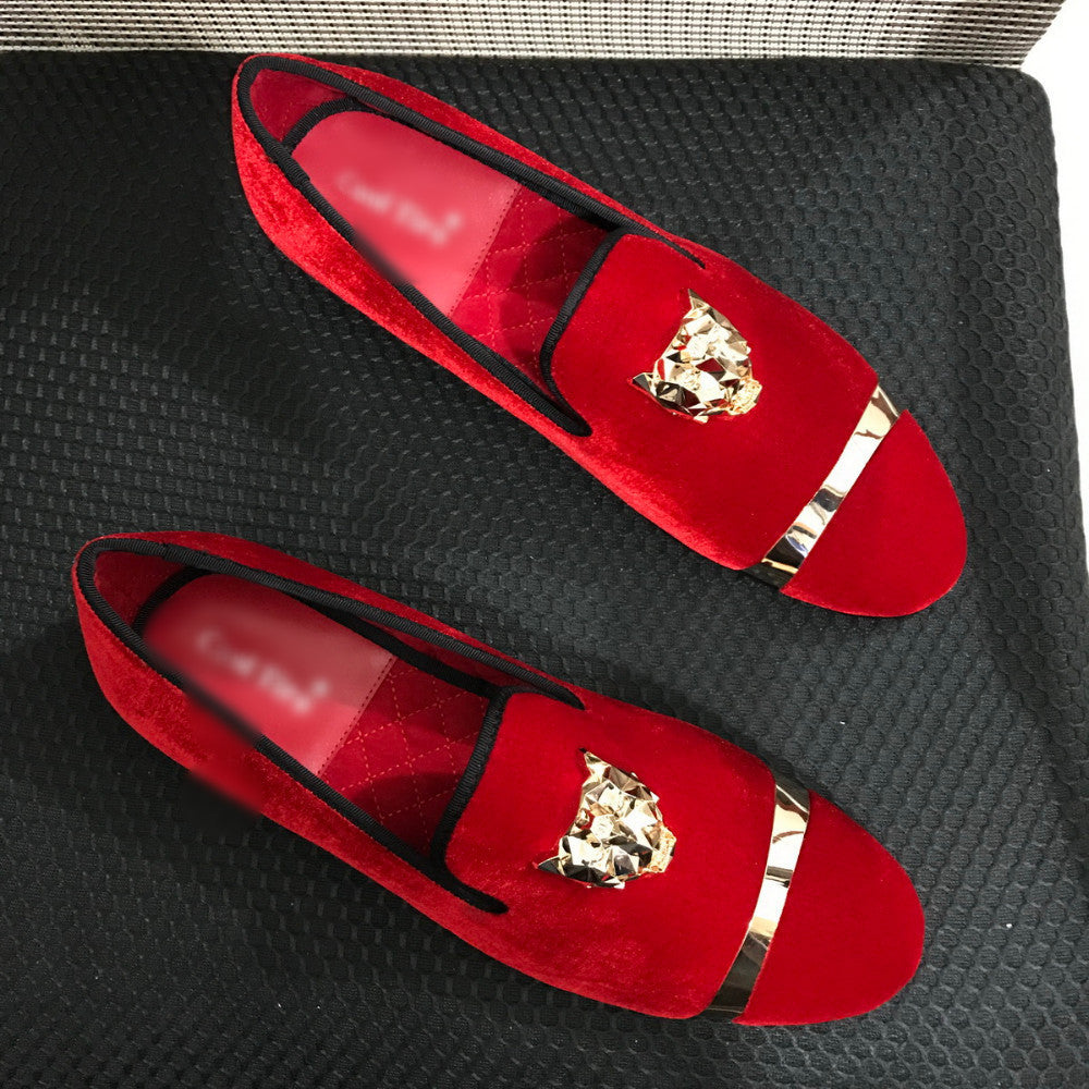 Men Loafers with Gold Buckle and Tiger Pin Details - FanFreakz