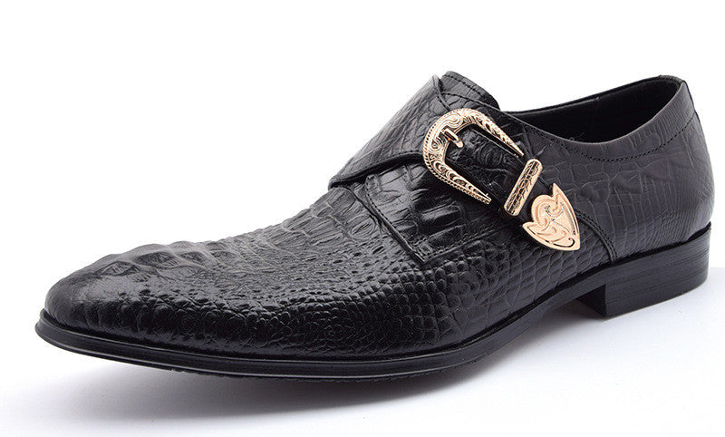 Vintage Buckle Monk Strap Style Croco Pattern Men Formal Shoes - FanFreakz