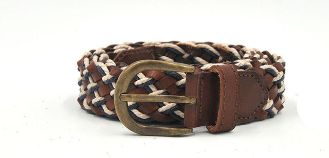 Genuine Braided Leather Mixed with Wax Rope Men Belt - FanFreakz