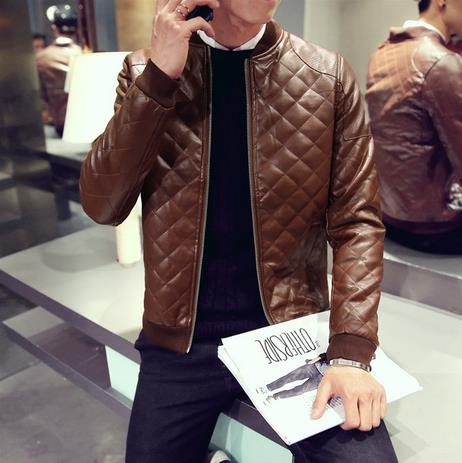 Stiched Style PU Leather Men Slim Fit Bomber Jacket - FanFreakz