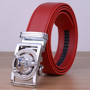 Men Faux Leather Belt with Head of Wolf Buckle - FanFreakz