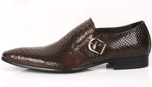 Snake Pattern Elegant Formal Men Loafers Shoes with Side Buckle Detail - FanFreakz