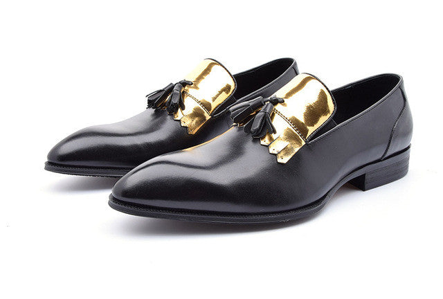 Gold Patch Tassell Men Loafers Shoes - FanFreakz
