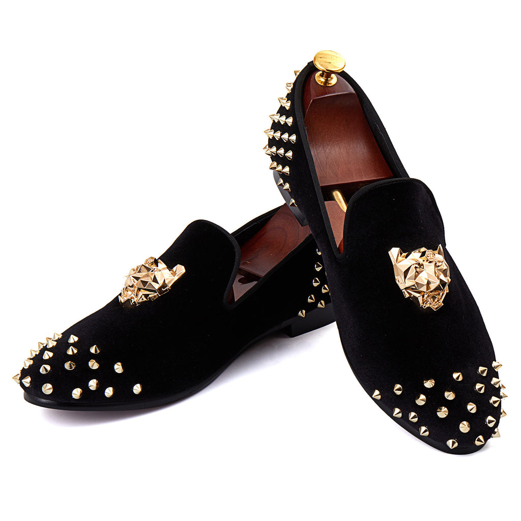 Rivets Black Men Velvet Loafers Shoes with Animal Buckle - FanFreakz