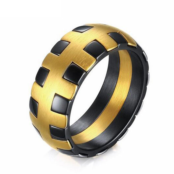 Braided Design Men Stainless Steel Ring Quality Gold Black Plated Titanium Ring