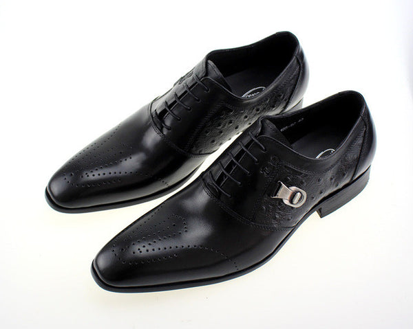 Lace Up Side Buckle Men Formal Shoes with Side Ostrich Pattern Leather