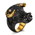 Lucky Bull Black Face Golden-Color Horns Punk Design Ring for Men - FanFreakz