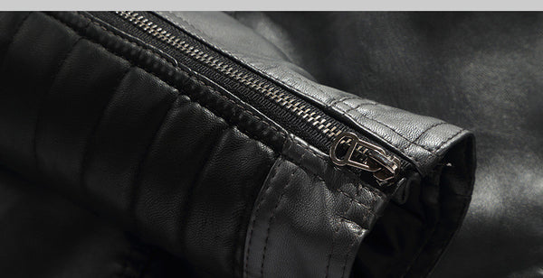 Shoulder Sleeves Stitched PU Leather Men Motorcycle Jacket