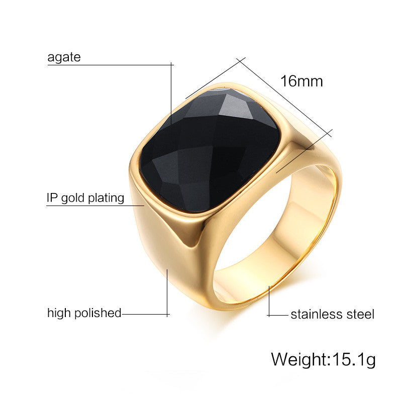 2c1e263ee0a19 Gold-Color Stainless Steel Men Black Onyx Ring – FanFreakz