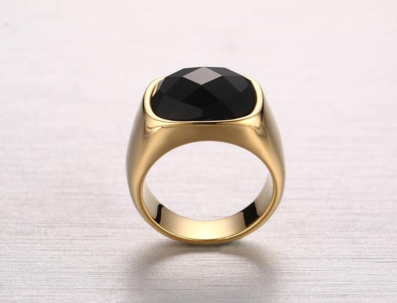 Gold-Color Stainless Steel Men Black Onyx Ring - FanFreakz