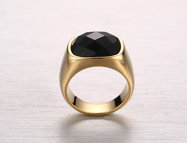 Gold-Color Stainless Steel Men Black Onyx Ring
