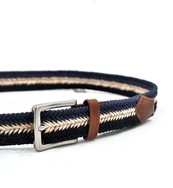 "Braided Cotton Soft Stretch Woven Casual Jean Mens Belts 1-3/8"" Wide"