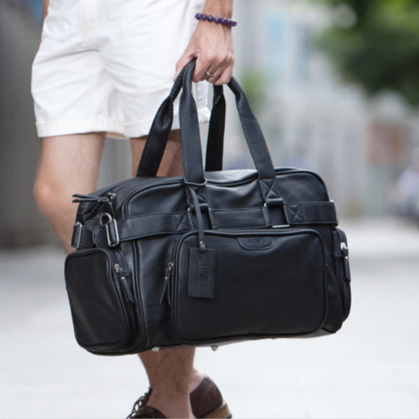 Mid Size Large Capacity PU Leather Men PU Leather Weekender Bag