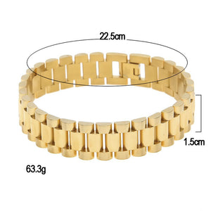 Hip Hop Gold Filled Watchband Style Men Bracelet - FanFreakz