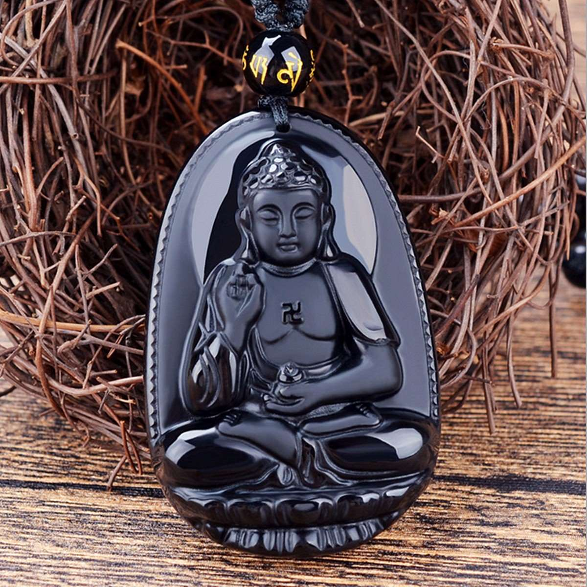 Unique Natural Black Obsidian Hand-Carved Buddha Lucky Amulet Pendant Men Necklace - FanFreakz