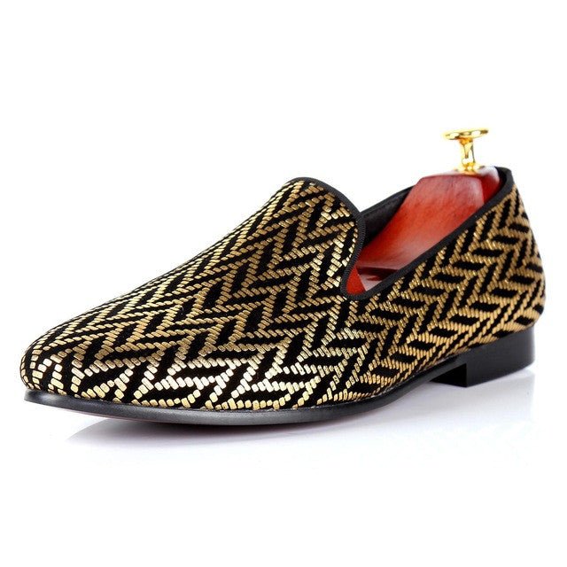 Gold Glitter Printed Men Flat Loafers Shoes - FanFreakz