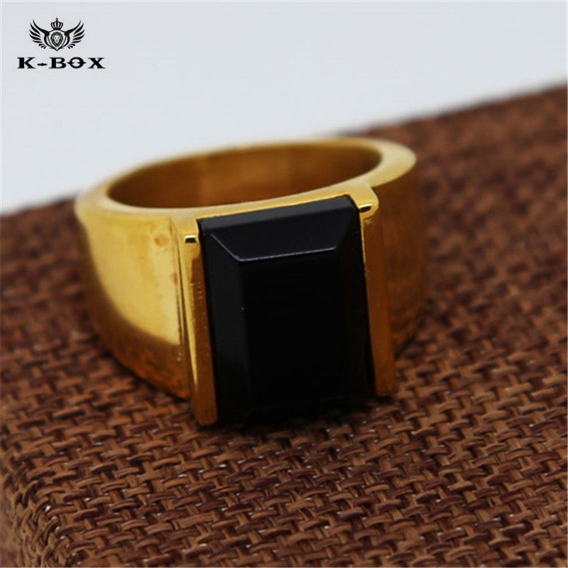 Black Square Agate Men's Gold Color Stainless Steel Ring - FanFreakz