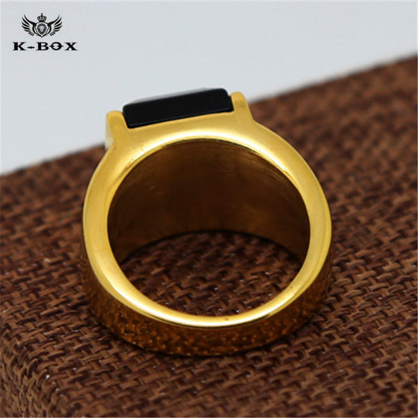 Black Square Agate Men's Gold Color Stainless Steel Ring