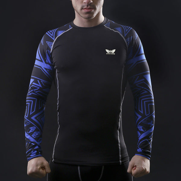 Blue Tribal Muscle Men Compression Tight Skin Shirt Long Sleeves 3D Prints