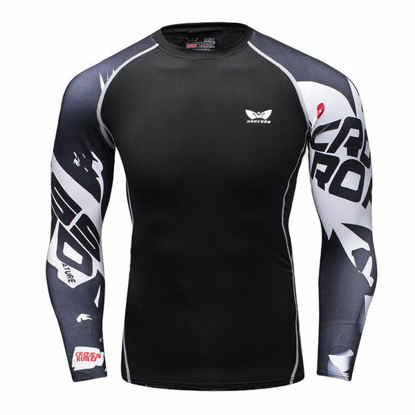 Jango Muscle Men Compression Shirt Tight Skin Shirt Long Sleeves 3D Prints