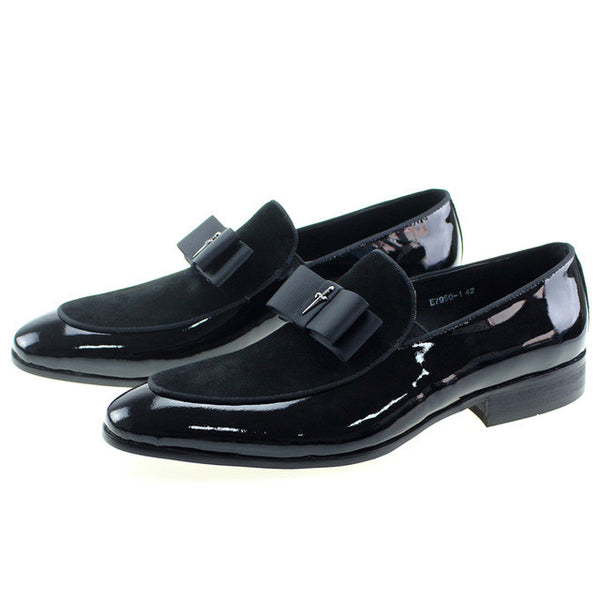 Patent Leather And Nubuck Leather Patchwork With Bow Tie Men Dress Shoes