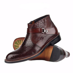 Single Strap Python Pattern Men Ankle Boots - FanFreakz