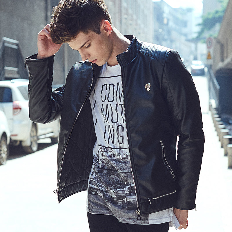 Punk Biker Style Men PU Leather Jacket with Shoulder Stitched Work Detail - FanFreakz