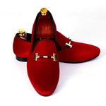Italian Style Men Velvet Loafers Shoes with Strap Buckle Detail - FanFreakz