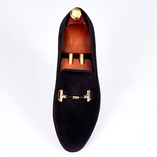 Italian Style Men Velvet Loafers Shoes with Strap Buckle Detail