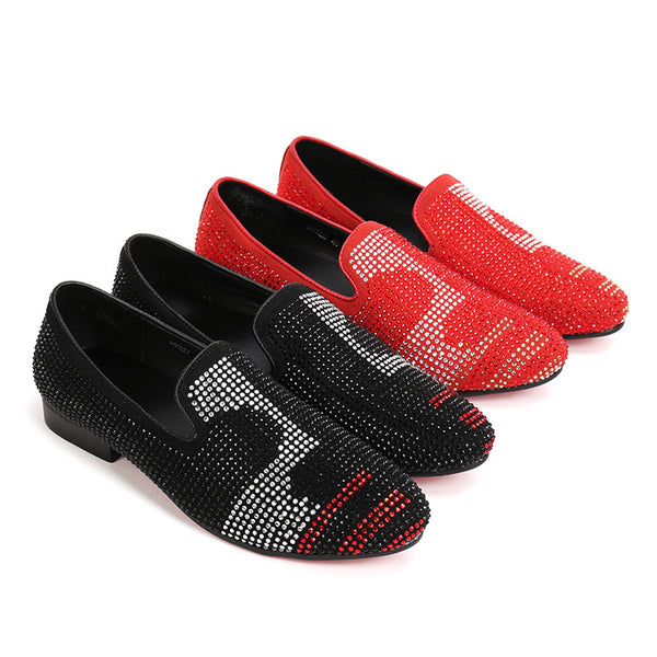 Red Bottom Rhinestones Men Loafers Slip on Shoes